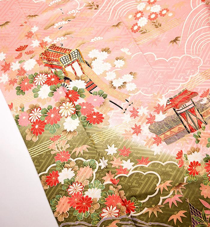 振袖、ピンク、紗綾形紋、御所車、上前画像2