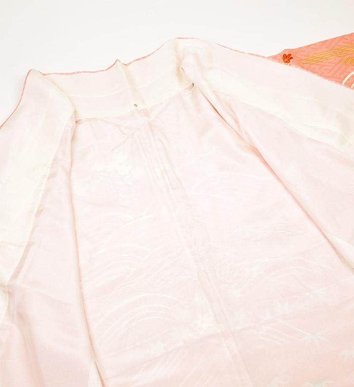 振袖、ピンク、紗綾形紋、御所車、裏地胴裏画像