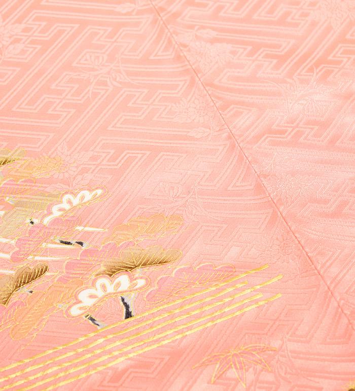 振袖、ピンク、紗綾形紋、御所車、、右後身頃極小シミ画像