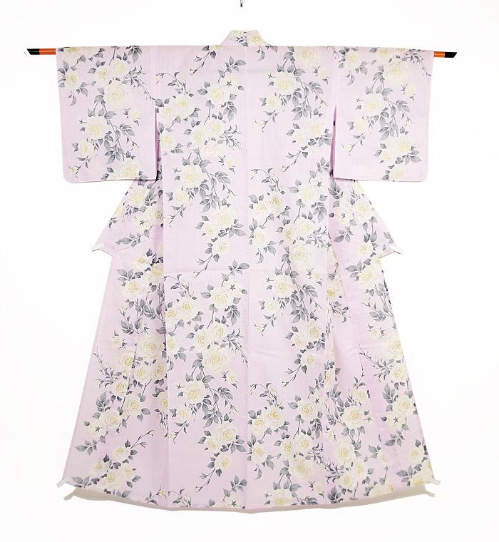 浴衣、SEIKO MATUDA、ピンク、薔薇、全体画像