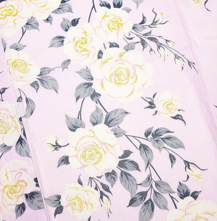 浴衣、SEIKO MATUDA、ピンク、薔薇、柄行模様画像