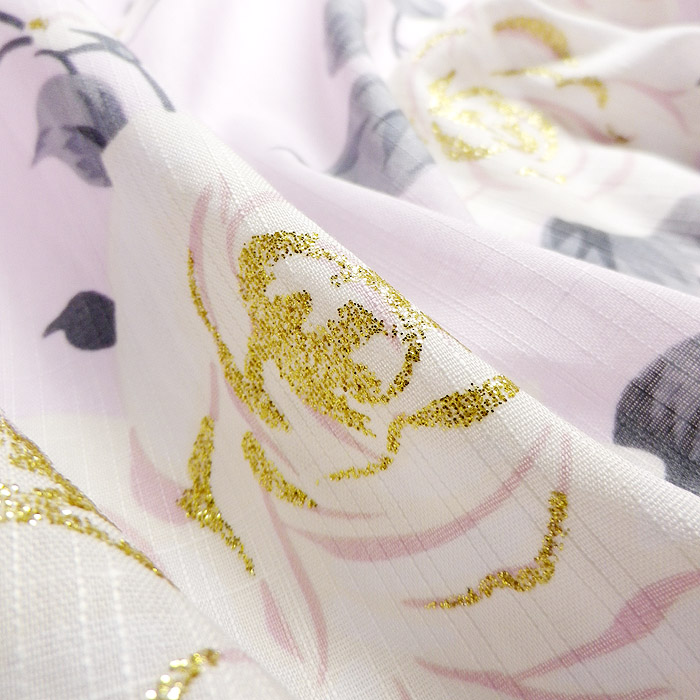 浴衣、SEIKO MATUDA、ピンク、薔薇、生地の質感画像