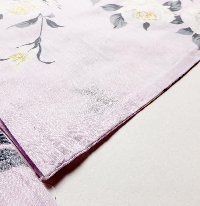 浴衣、SEIKO MATUDA、ピンク、薔薇、右袖後点シミ画像