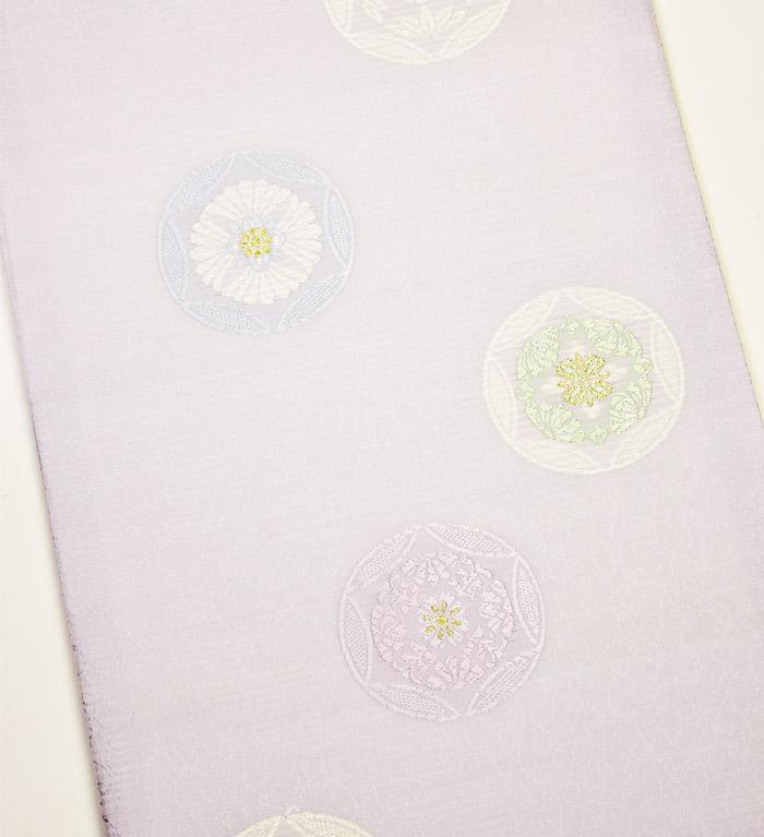 夏袋帯、紗、ライトパープル、花丸文、柄模様