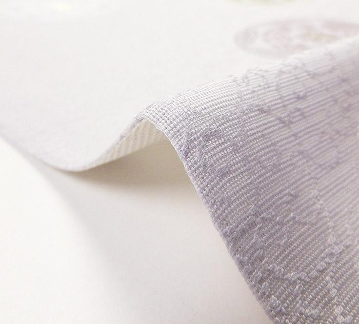 夏袋帯、紗、ライトパープル、花丸文、生地の厚み1