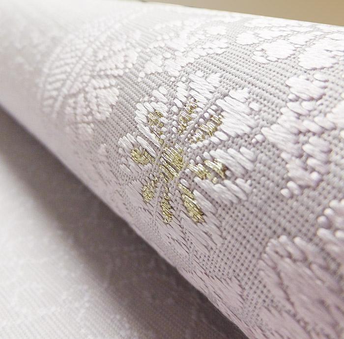 夏袋帯、紗、ライトパープル、花丸文、生地の質感