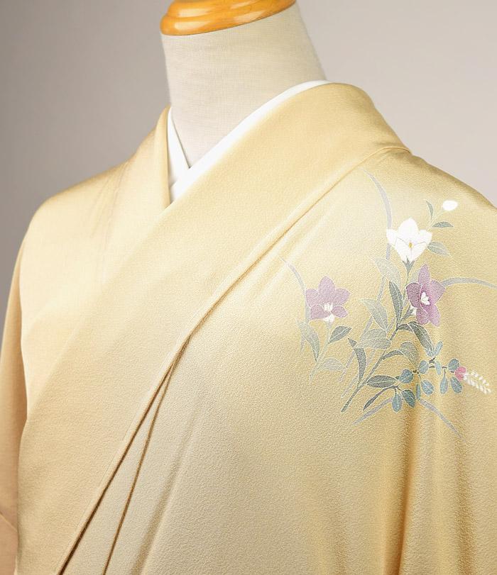 単衣、附下訪問着、ベージュ系、四季花、胸元画像