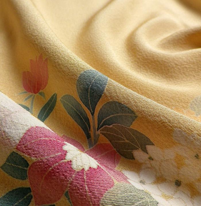 単衣、附下訪問着、ベージュ系、四季花、生地の質感画像