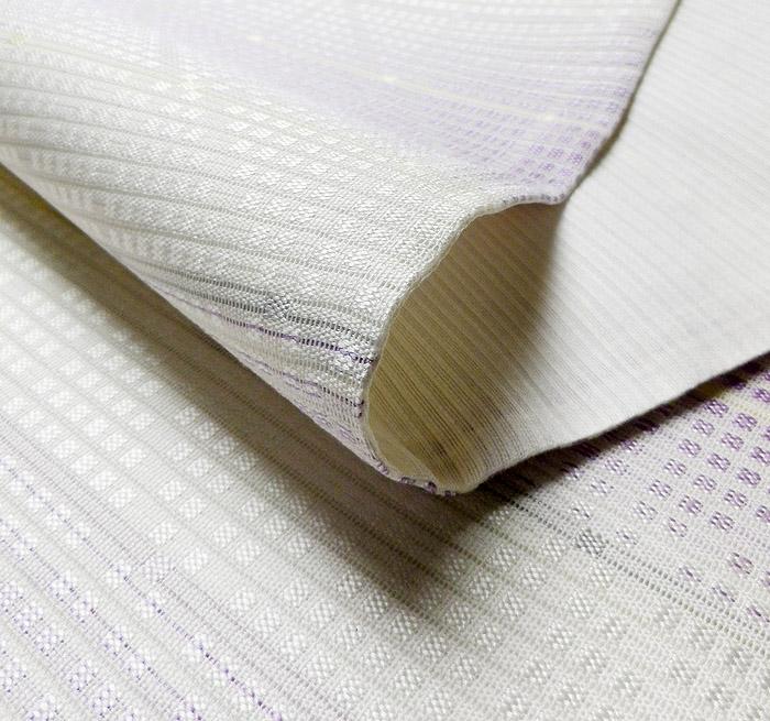 夏袋帯、絽綴、パープルホワイト、横段、生地の厚み