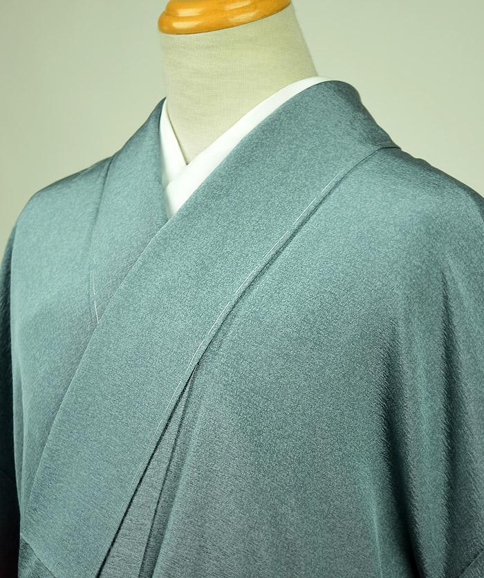 附下訪問着、銀花仙、ブルーグリーン系裾ぼかし、全体柄画像