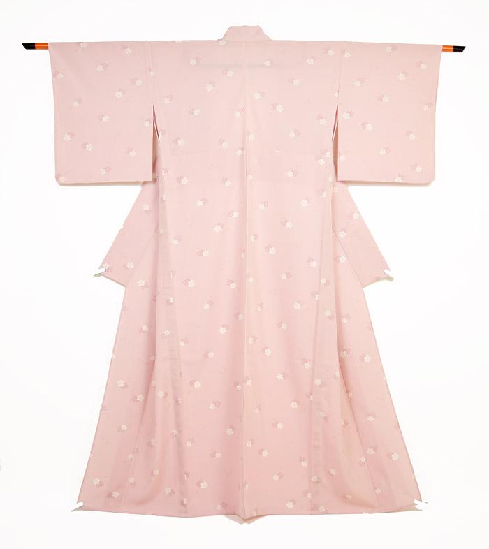 夏着物、絽、小紋、ピンク、源氏香桜、全体柄