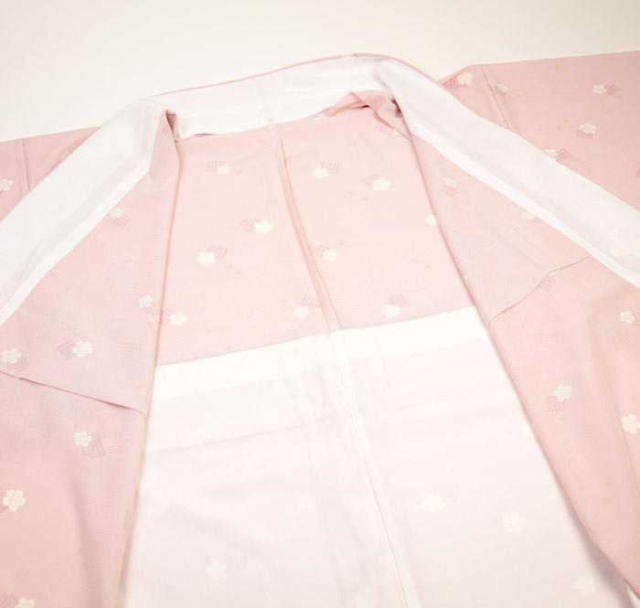 夏着物、絽、小紋、ピンク、源氏香桜、裏地