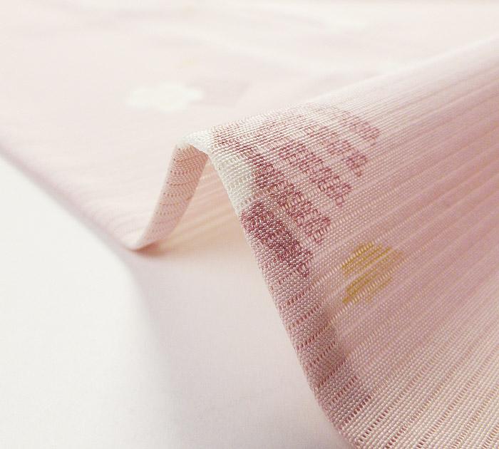 夏着物、絽、小紋、ピンク、源氏香桜、生地の厚み