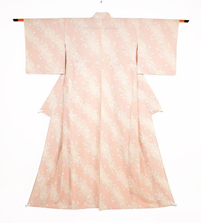 夏着物、絽、小紋、ピンク桜、全体画像