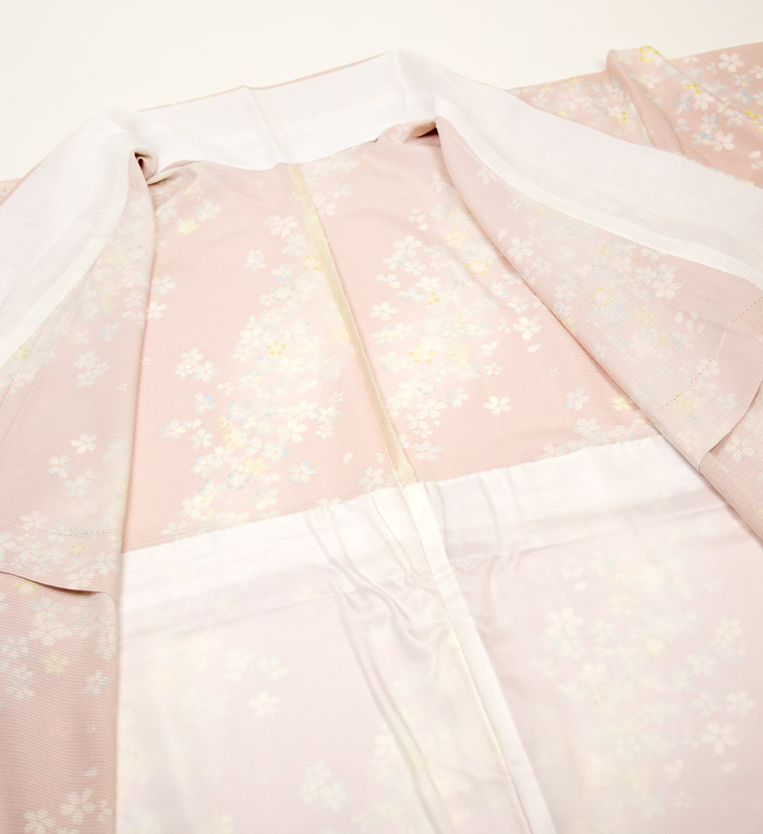 夏着物、絽、小紋、ピンク桜、裏地画像2