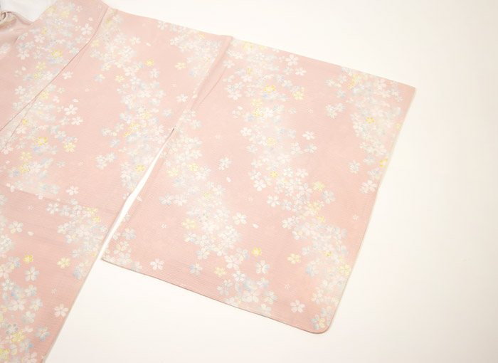 夏着物、絽、小紋、ピンク桜、袖柄行模様画像