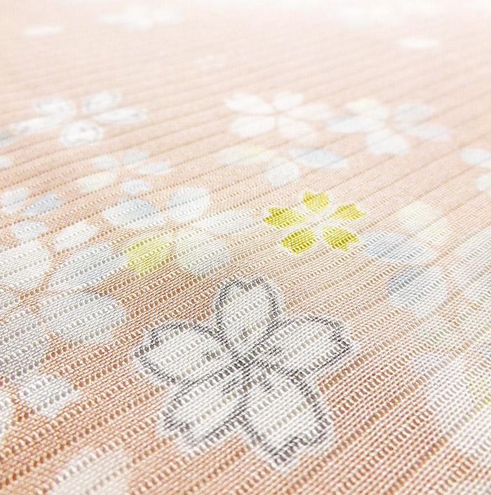 夏着物、絽、小紋、ピンク桜、生地のアップ画像