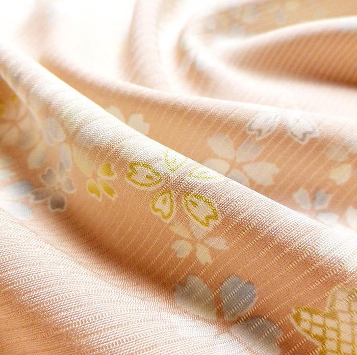 夏着物、絽、小紋、ピンク桜、生地の質感画像