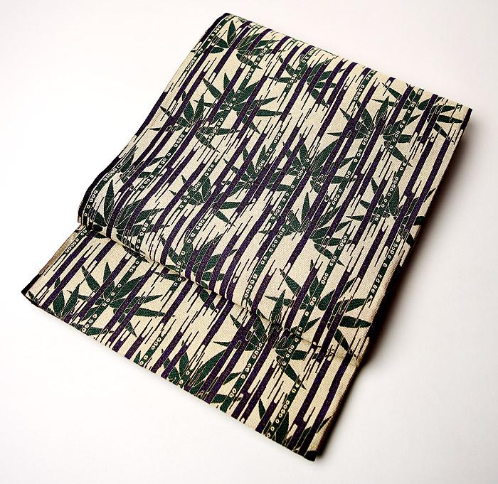袋帯、全通リバーシブル、草木染、懐古文、表面お太鼓柄