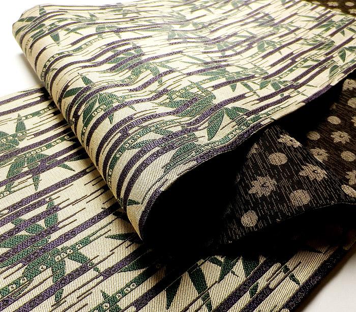 袋帯、全通リバーシブル、草木染、懐古文、生地の厚み