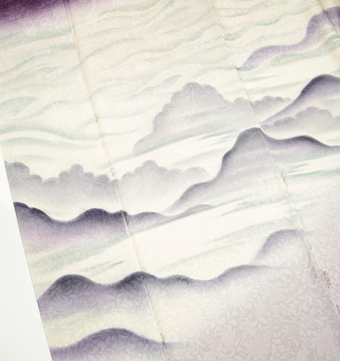 附下訪問着、バイオレット、風景画、唐草紋、上前2画像