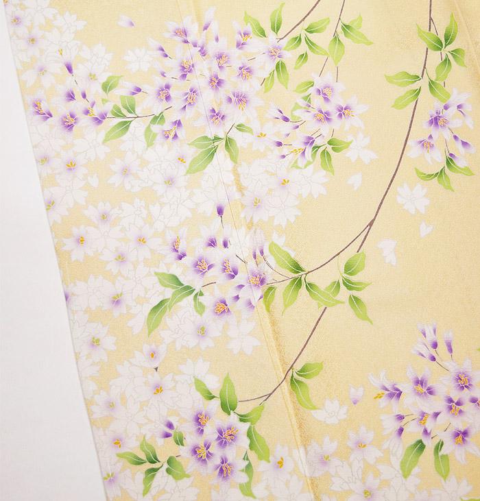 附下訪問着、クリームピンク、桜、上前2画像