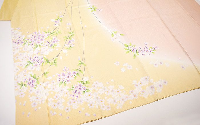 附下訪問着、クリームピンク、桜、上前〜後身頃画像