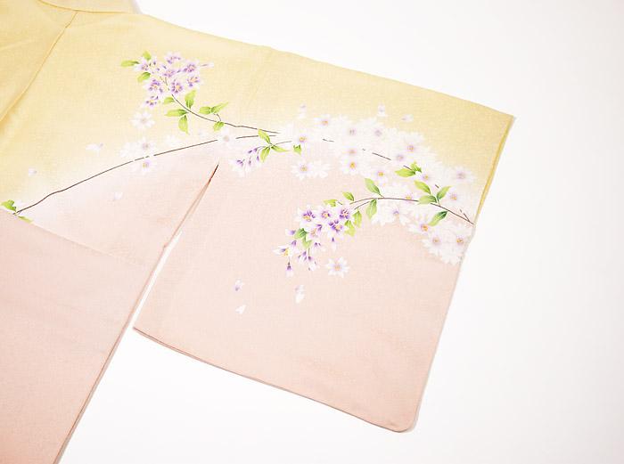 附下訪問着、クリームピンク、桜、右袖後模様画像