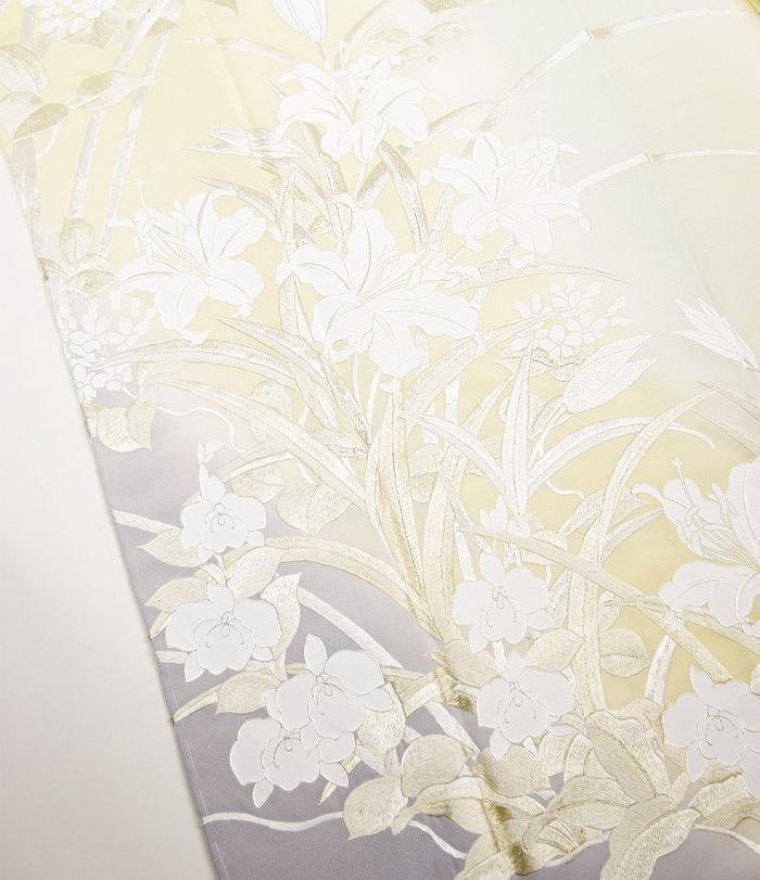 附下訪問着、オフホワイト、総刺繍花、上前画像2