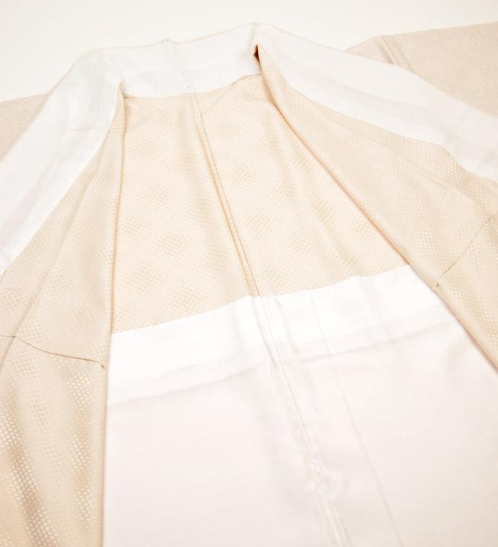 単衣、ライトベージュ、霰文、裏地胴裏画像