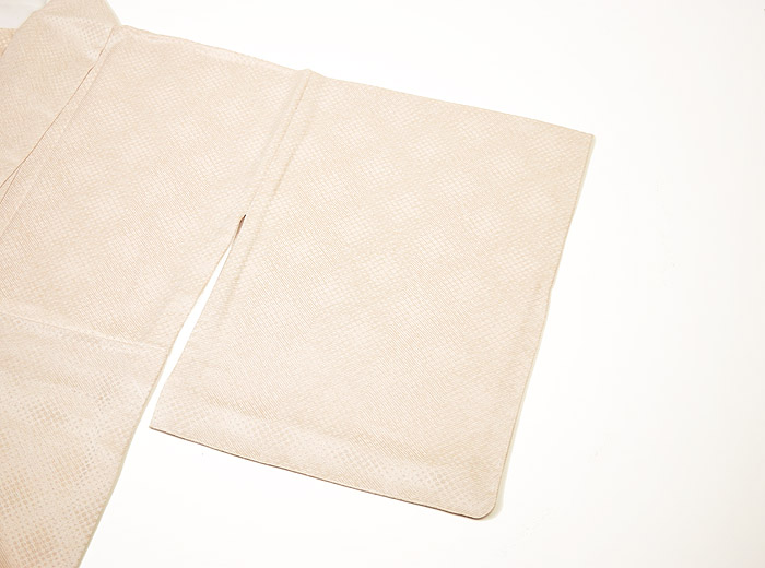 単衣、ライトベージュ、霰文、袖画像