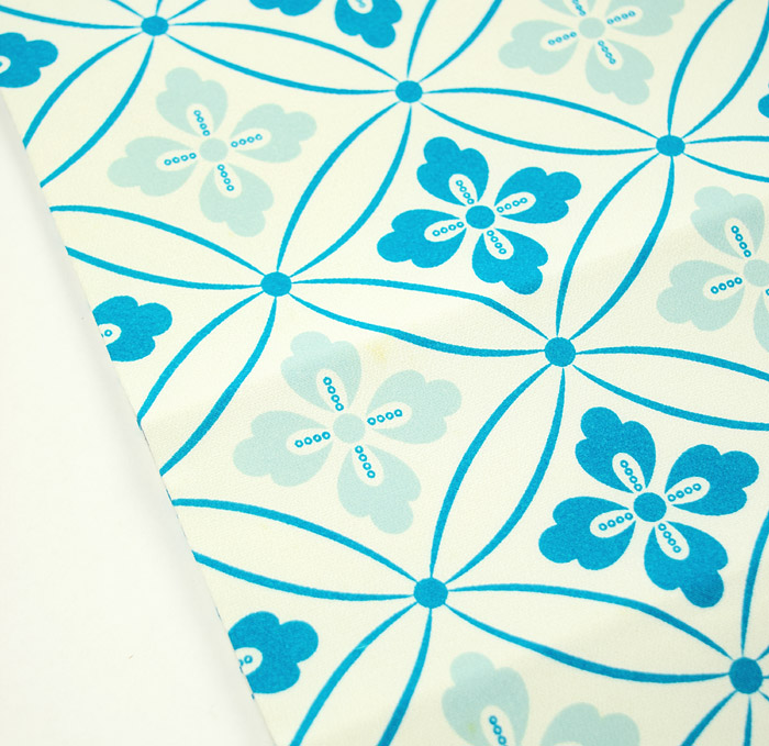 京袋帯、ライトブルー、七宝文様、極薄シミ画像