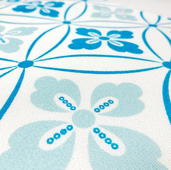 京袋帯、ライトブルー、七宝文様、生地のアップ画像