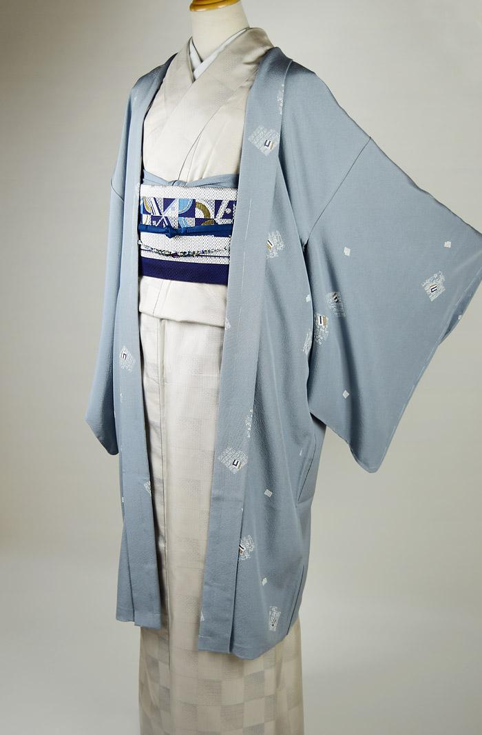 長羽織、グレーブルー系、源氏香、正面全体画像