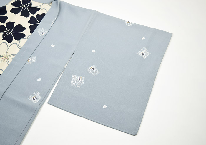 長羽織、グレーブルー系、源氏香、袖模様画像