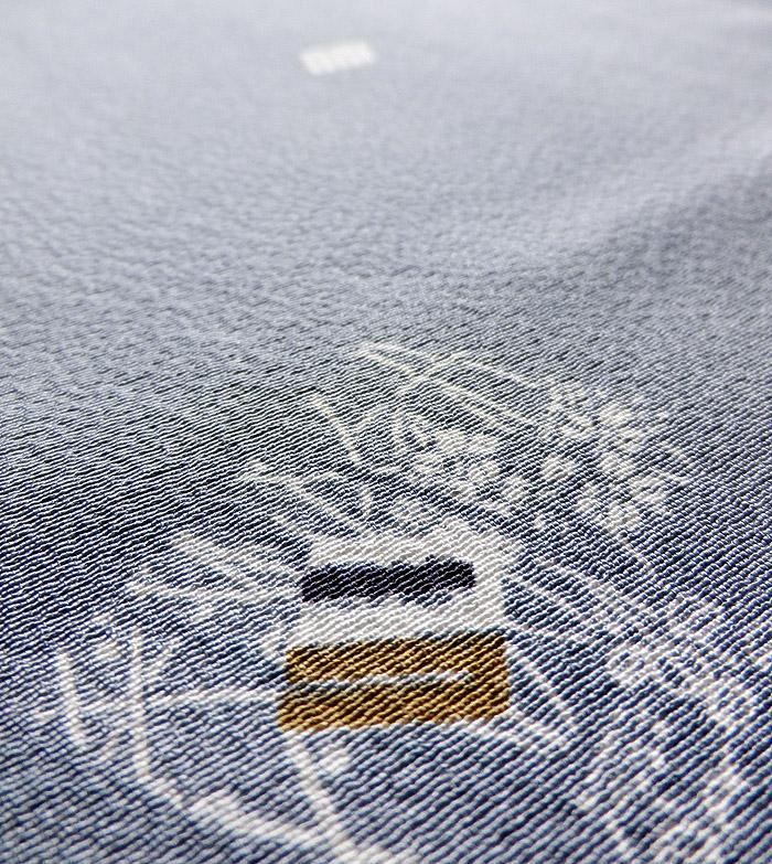 長羽織、グレーブルー系、源氏香、生地のアップ画像