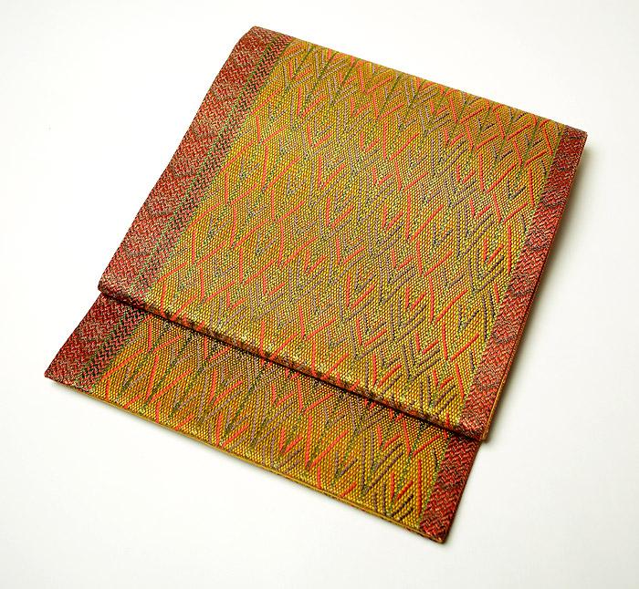 袋帯、全通、辛子色、変り織矢絣、お太鼓柄画像