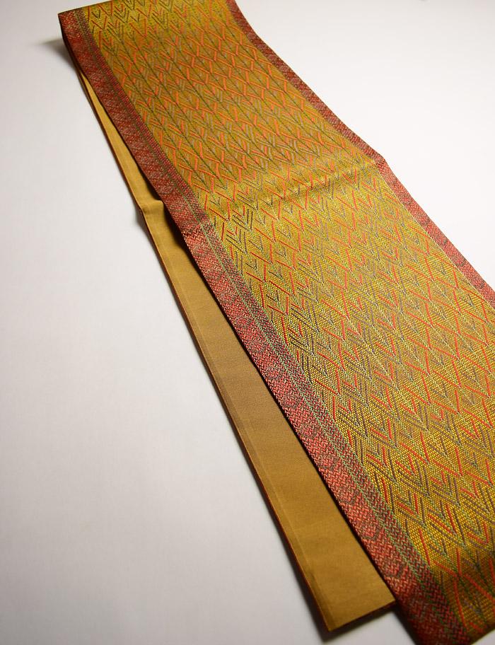 袋帯、全通、辛子色、変り織矢絣、全体画像