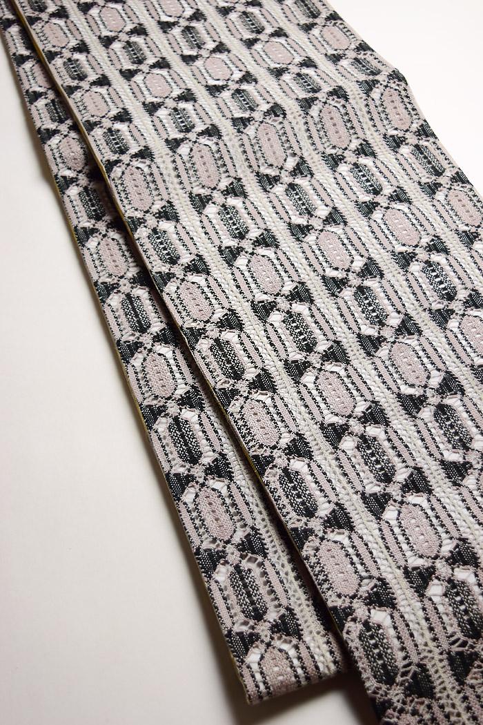袋帯、本場奄美大島本泥染、網絲織、リバーシブル、裏面全体柄画像