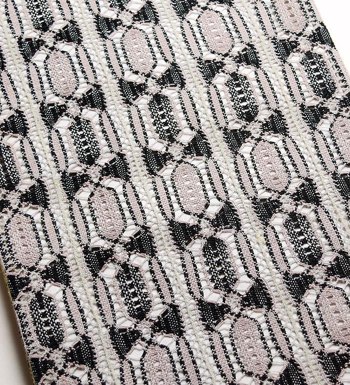 袋帯、本場奄美大島本泥染、網絲織、リバーシブル、裏面柄行模様画像