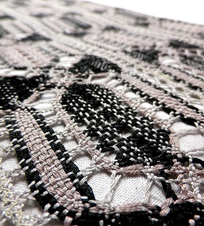 袋帯、本場奄美大島本泥染、網絲織、リバーシブル、裏面生地アップ画像