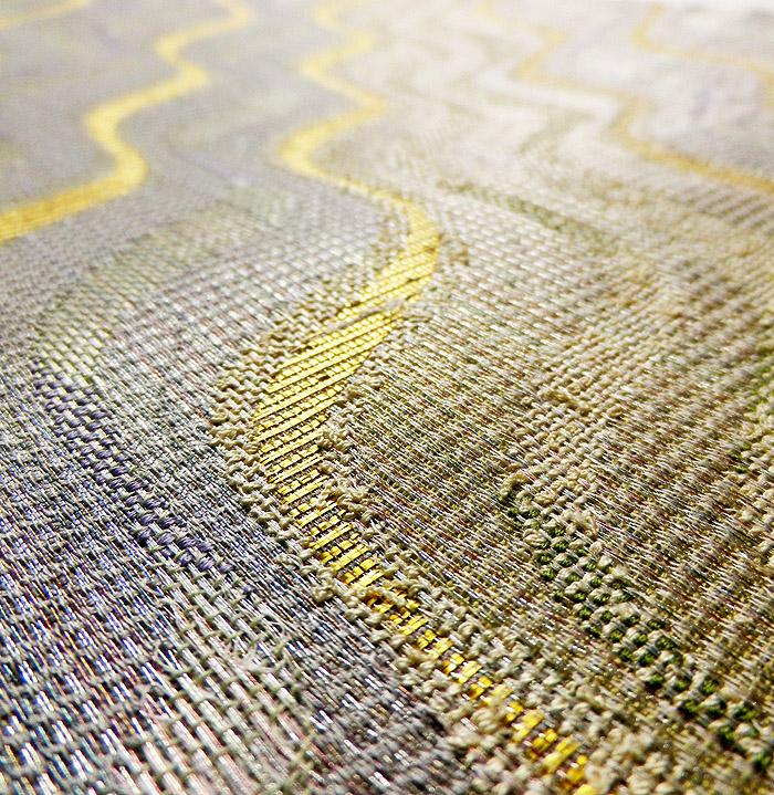 袋帯、本場奄美大島本泥染、網絲織、リバーシブル、表面生地アップ画像