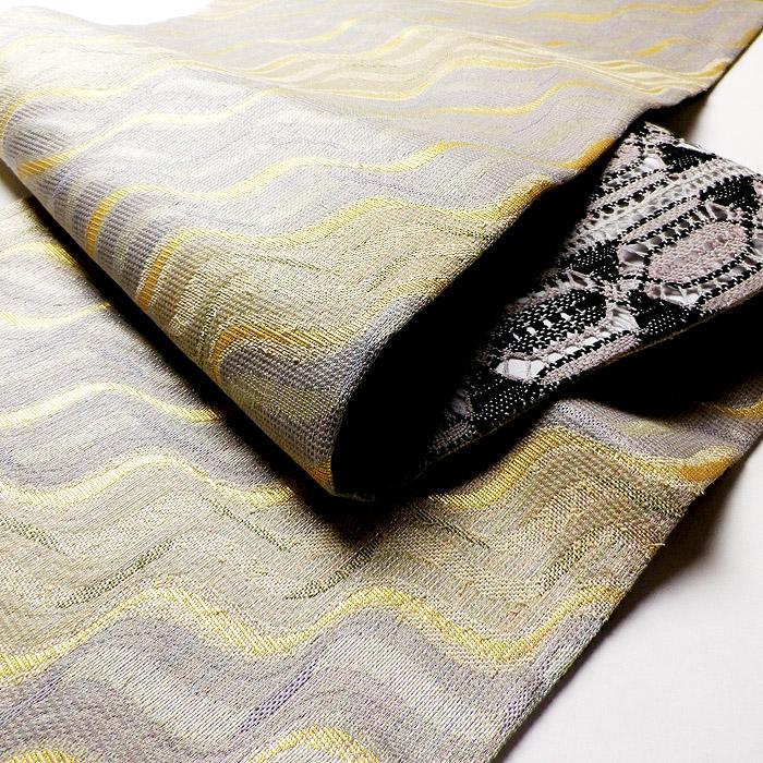 袋帯、本場奄美大島本泥染、網絲織、リバーシブル、生地の厚み画像