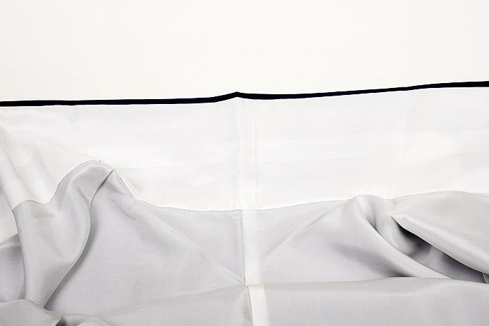 紬、附下柄、バイオレット系、桜散らし、衿裏画像