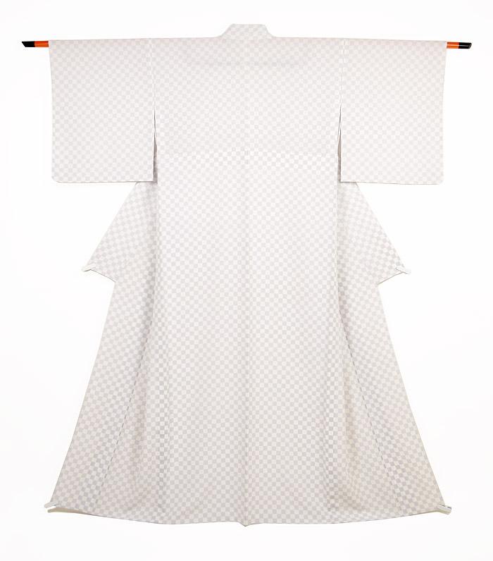 単衣小紋、ホワイトパープル、市松、全体画像