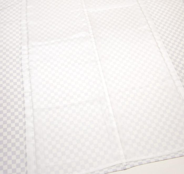 単衣小紋、ホワイトパープル、市松、裏地、居敷当て画像2