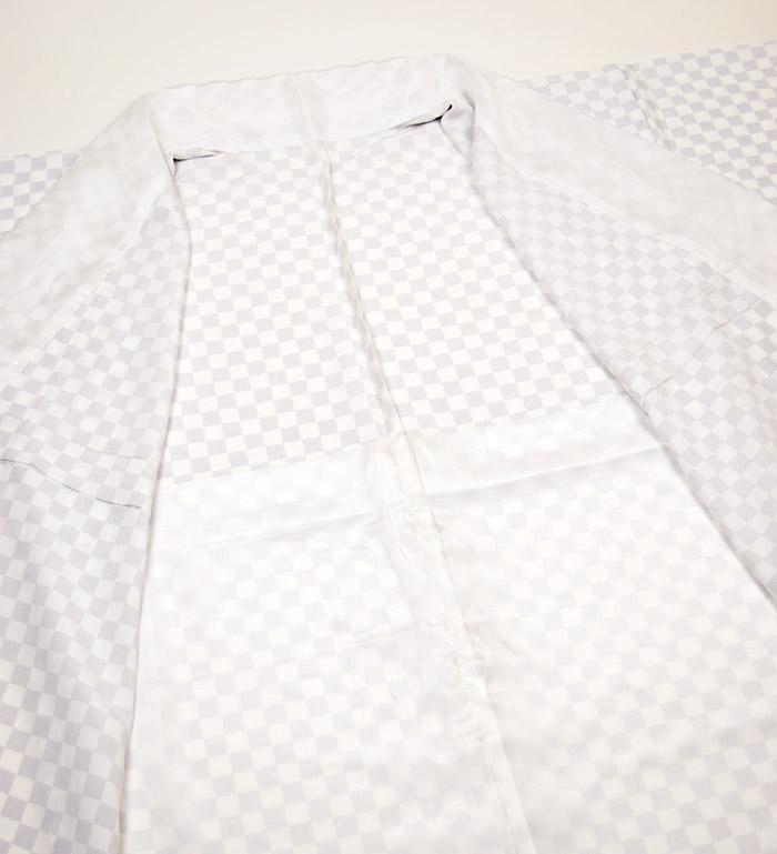 単衣小紋、ホワイトパープル、市松、裏地、居敷当て画像1