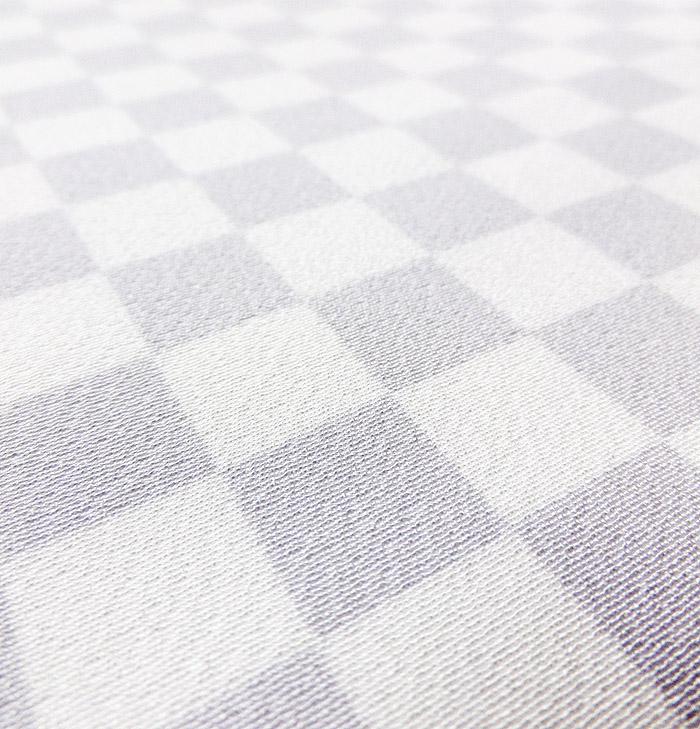 単衣小紋、ホワイトパープル、市松、生地のアップ画像