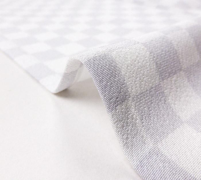 単衣小紋、ホワイトパープル、市松、生地の厚み画像2