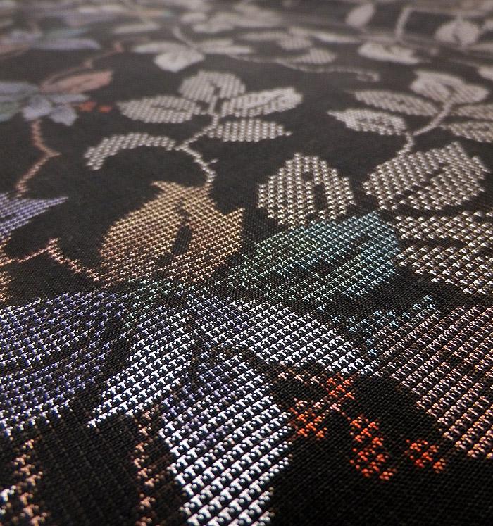 泥大島紬、葉花文、生地のアップ画像